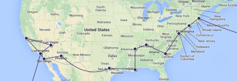Preliminary itinerary for the US! Boston > New York > Washington DC > Columbia > Nashville > Memphis > New Orleans > Austin > Phoenix > San Diego > Los Angeles > San Francisco > Las Vegas