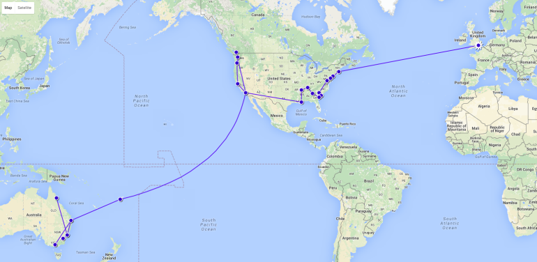 The progress I've made so far around the world!