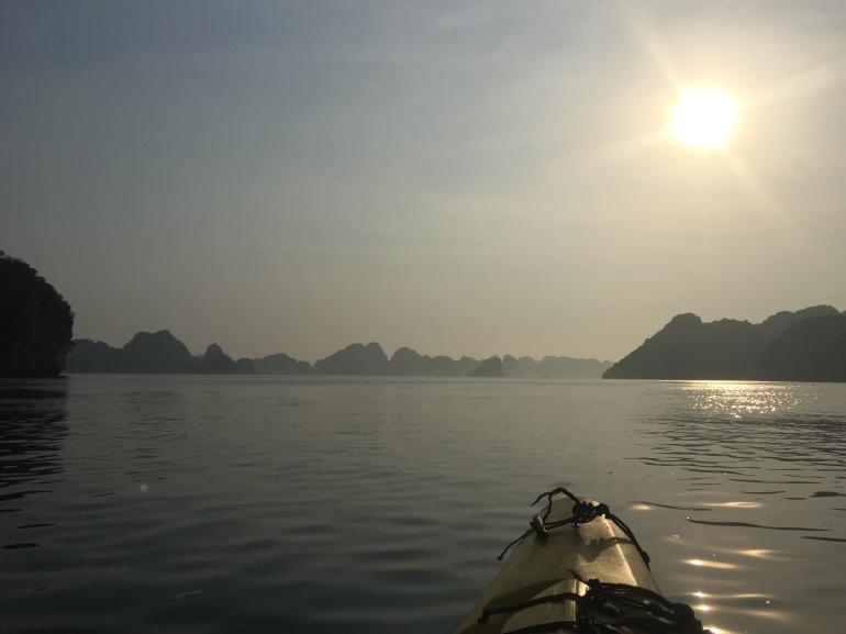 Sun heading towards the horizon as we kayaked back